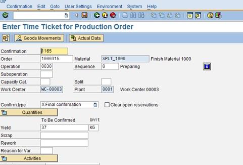 Split Production Order   SAP Blogs