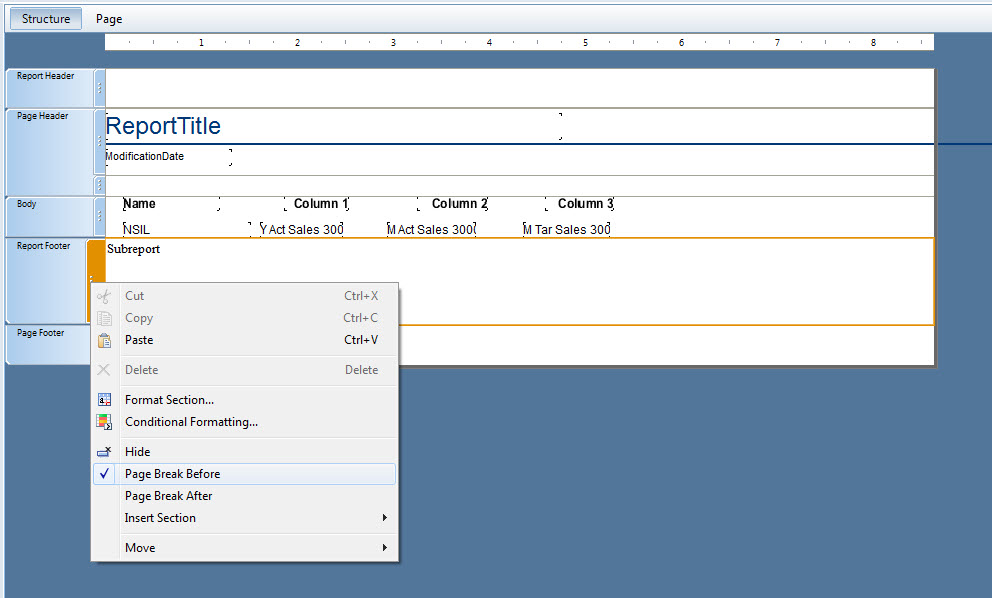 how to add a page break in crystal reports