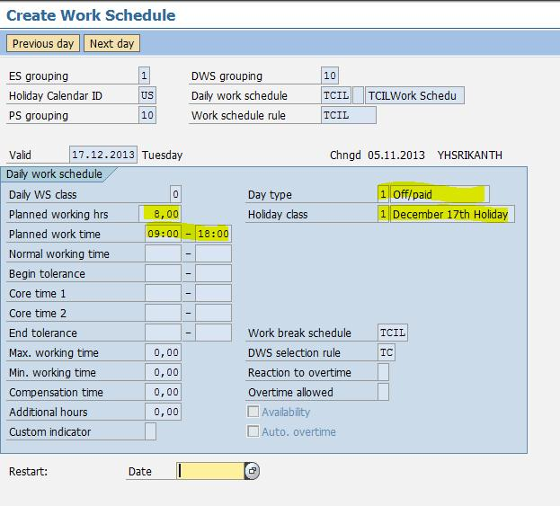 creation of a daily work schedule variant half day working day