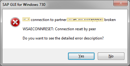 connection reset error connection reset by peer