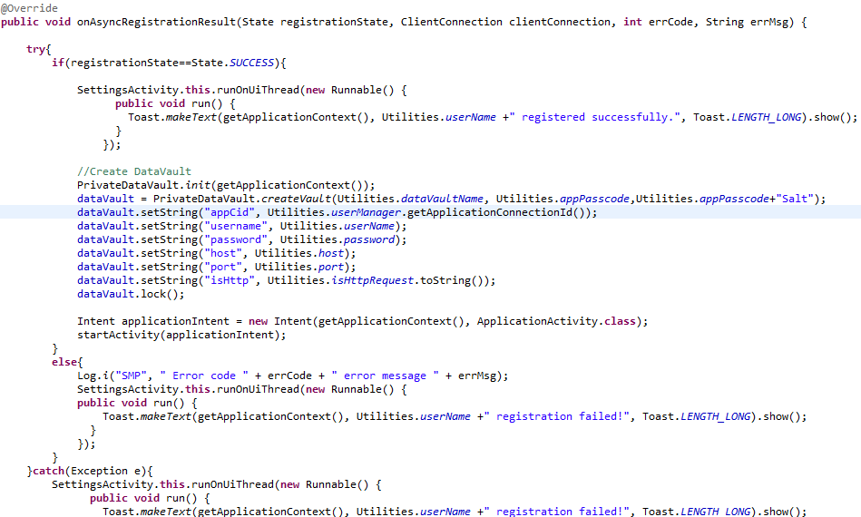 Android OData REST SDK Registration Callback.PNG