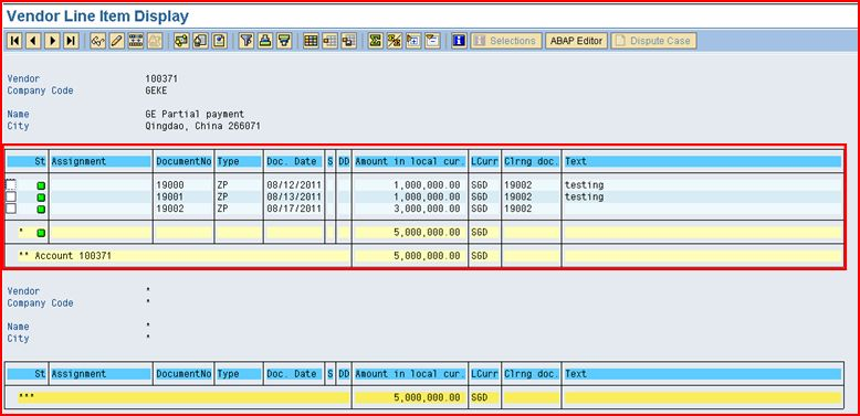 multiple partial payments from an invoice through
