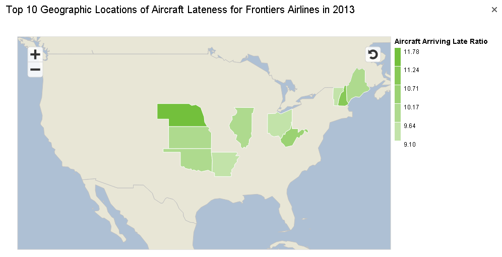 Top 10 Geographic Locations of Aircraft Lateness for Frontier Airline in 2013