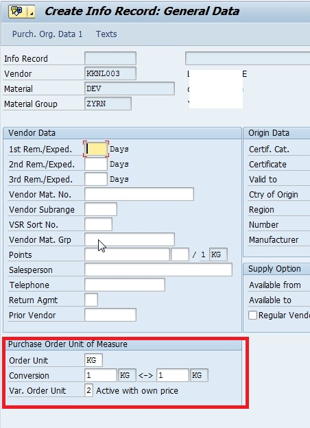 Active Auto Sales >> Create Info Record for different Order Unit | SAP Blogs