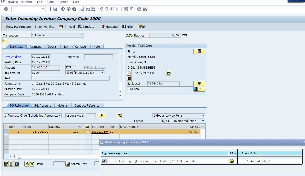 M8 messages for incoming invoices with tolerances | SAP Blogs