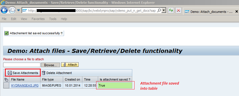 Attach files with save, retrieve and delete functionality in Web