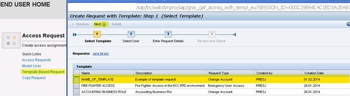 creating access request template based requests and configuring end