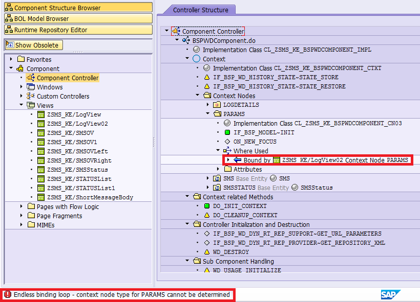 how to deal with error message raised from ui component workbench