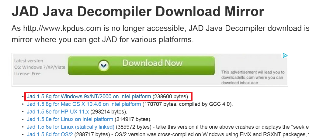 Step by step to configure JAD to decompile source code of