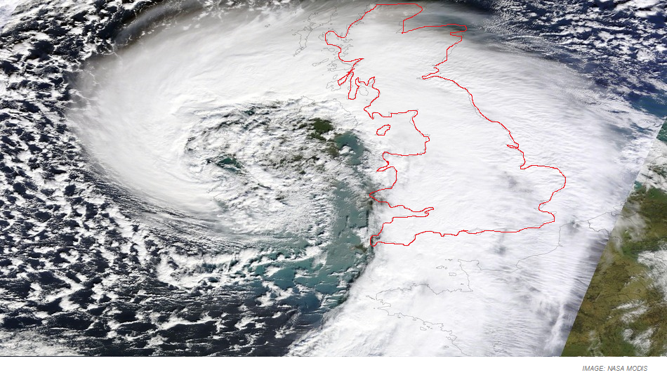 NASA photo of UK Storm Front