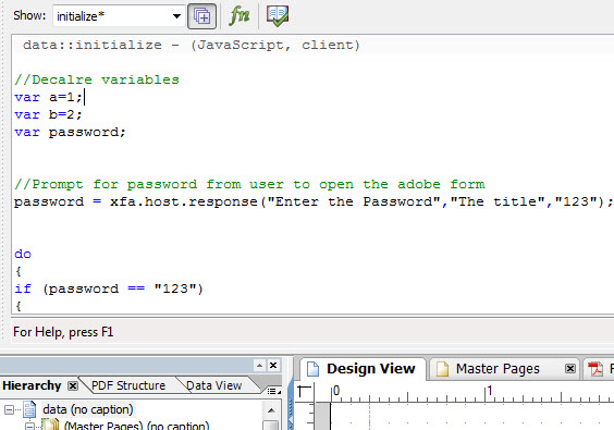 Adobe form Password protected with Java script | SAP Blogs