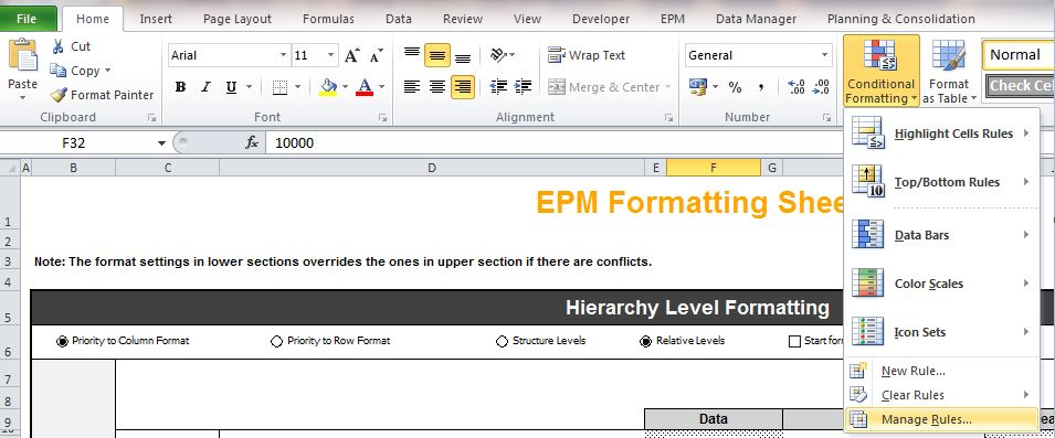 Conditional Formatting From EPMFormattingSheet | SAP Blogs