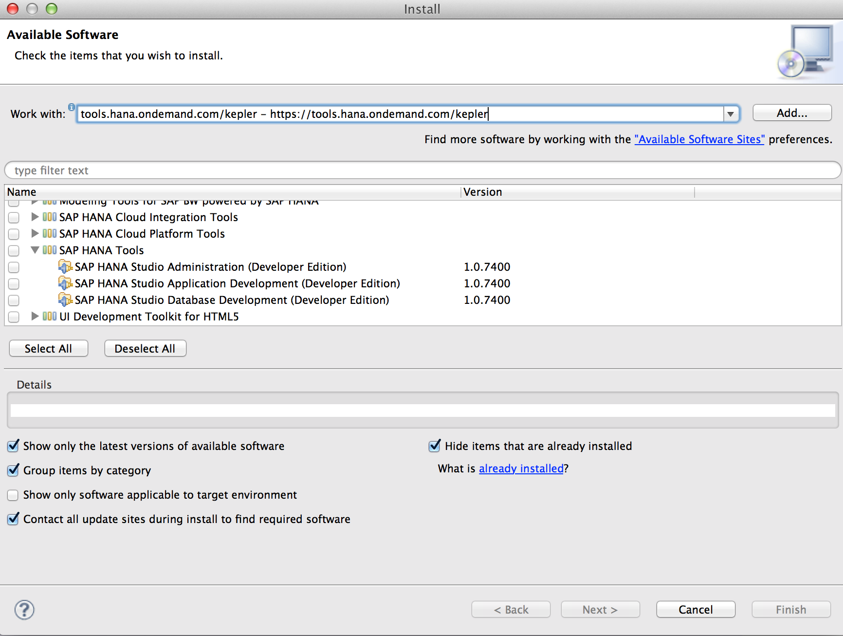 How to install HANA studio on Mac - Eclipse Update Site.png