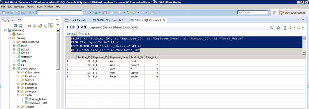 All about Joins using SQL in HANA | SAP Blogs