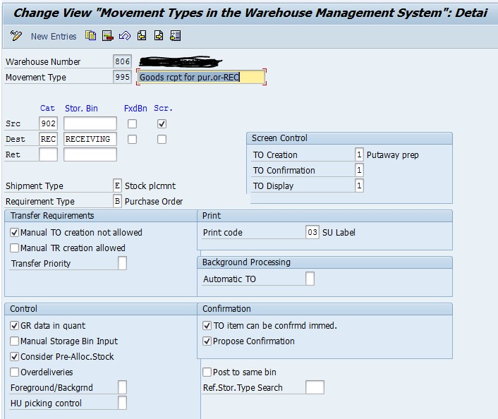 SAP WM configure movement type to move stock directly to a