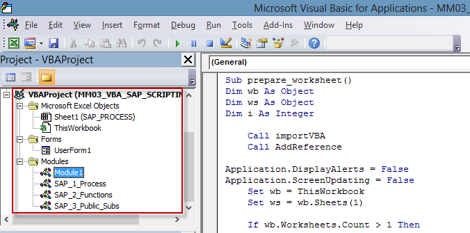 Interactive and dynamic Excel VBA template – SAP GUI
