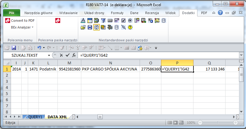 how to transfer data from bex workbook to other system using xml