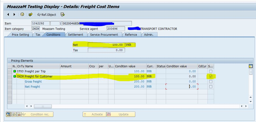 Different freight scenarios and Freight calculation, freight PO