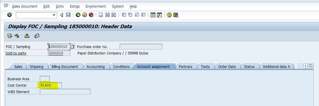 cost center assigned in sales order different cogs gl account for