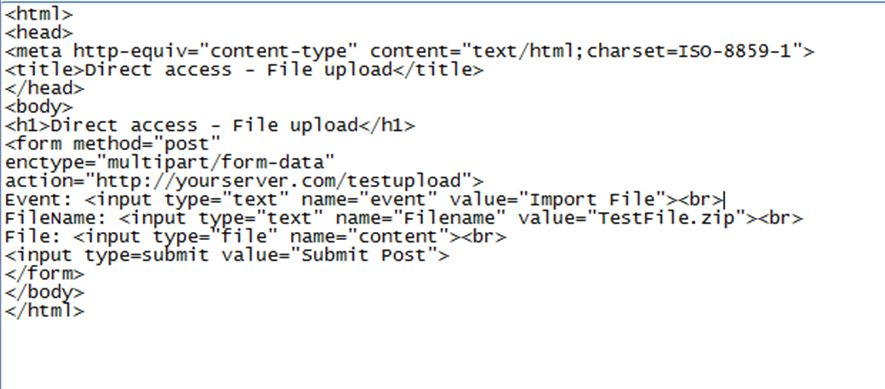 HTML MultiPart Form upload using HTTP Plain adapter with
