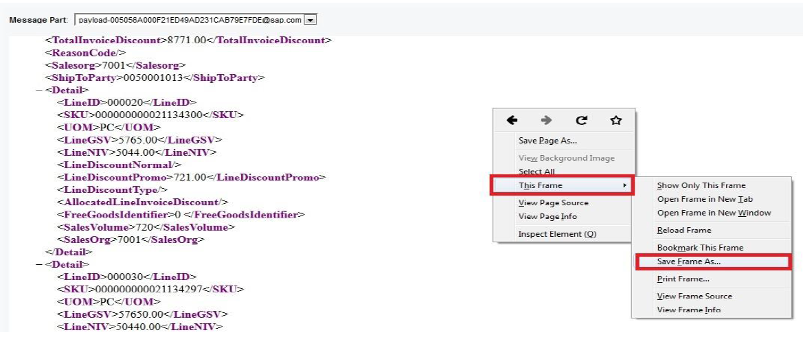 How to Save Payload from Message Display Tool in Mozilla Firefox