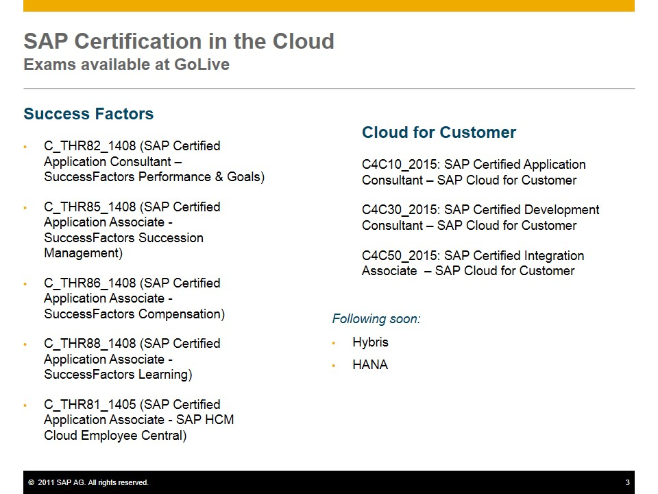 Exciting Changes For Sap Cloud Certification Since March 2015 Sap
