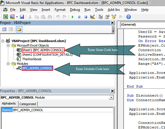 Create an Excel based BPC Admin Consol Using VBA, ABAP and