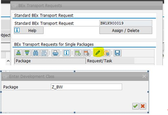 how to create transport request in sap