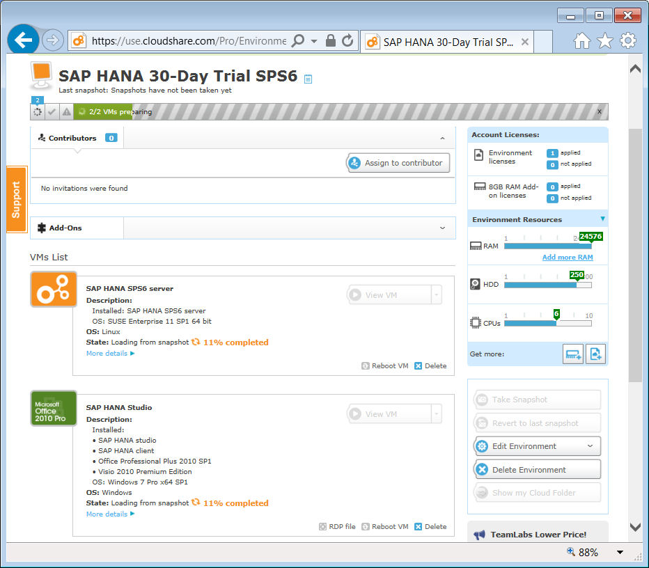 image 1d rev CloudShare Loading from snapshot for SAP HANA 30-Day Trial SPS6.jpg