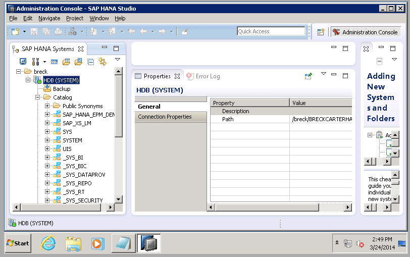image 2g rev Administration Console - Successfully connected to HANA.jpg