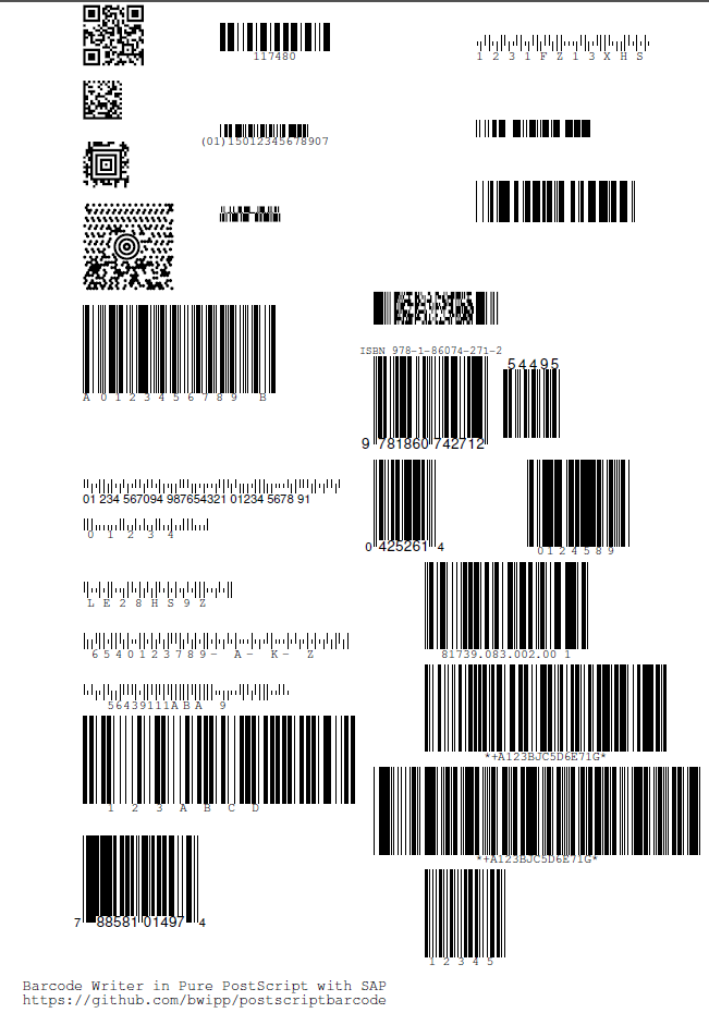 barcodes in sap with the barcode writer in pure postscript updated and also available in