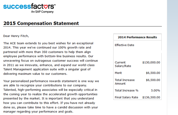 Successfactors employee central and compensation for Compensation summary template