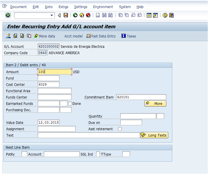 tcode to create recurring document