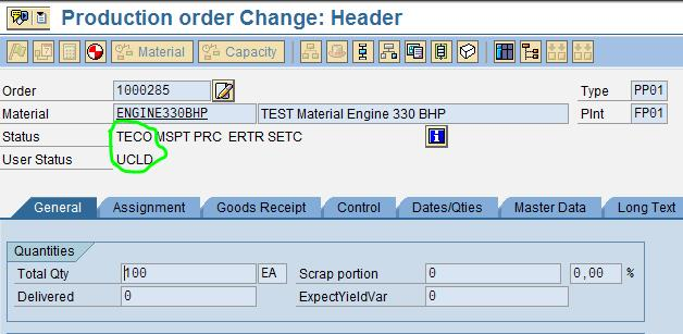 Configuration of User status profile for production Order | SAP Blogs