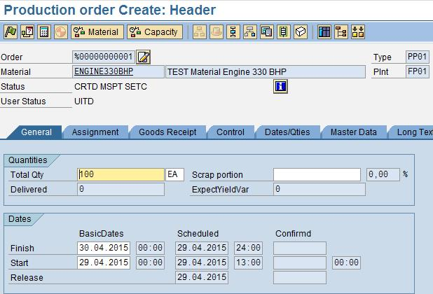 Configuration of User status profile for production Order
