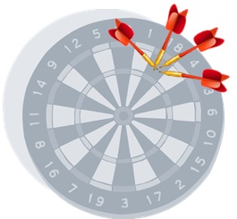 dartboard with darts together but not in centre