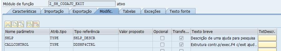Definindo Valores De Parâmetro Usando O Search Help Exit