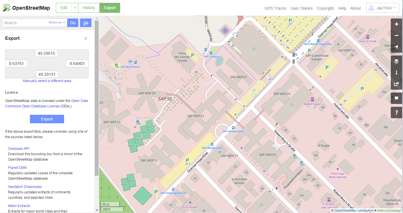 Street level maps with openstreetmaps for lumira design studio this is what that looks like in openstreetmap when on the export screen sciox Gallery