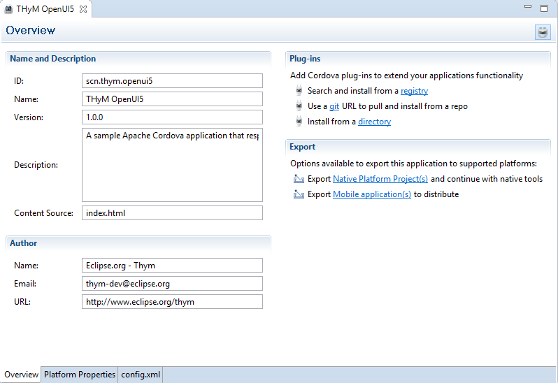 Create a simple hybrid app with Eclipse THyM and OpenUI5 | SAP Blogs