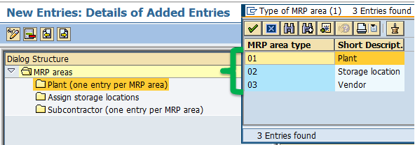 plant mrp area should have same name as plant so you can have only one entry for plant mrp area for example plant 1000 will have plant mrp area as 1000