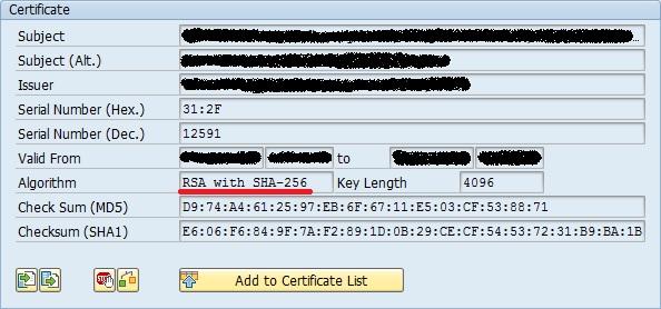Use of SHA-2 algorithm family in SSL PSEs | SAP Blogs
