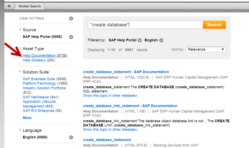 How to search SAP ASE documentation on the SAP Help Portal