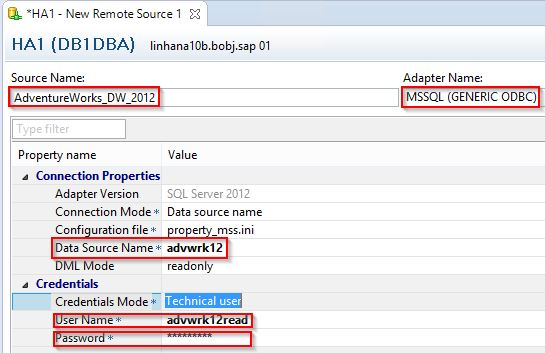 Connecting SAP HANA 1 0 to MS SQL Server 2012 for Data