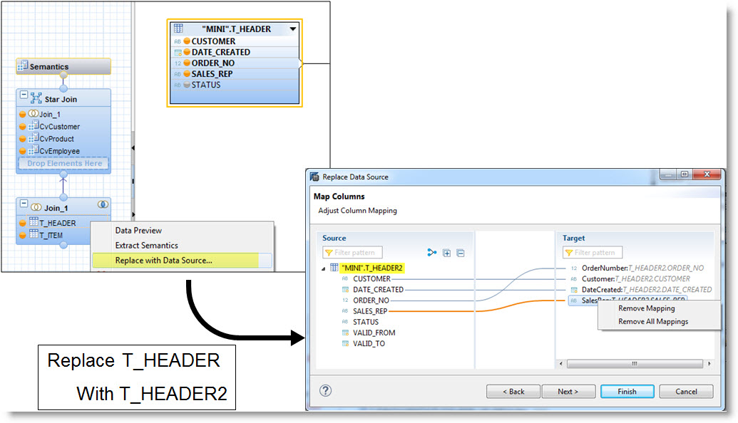 Hana Modeler: Impact Analysis and Refactoring of Calculation Views