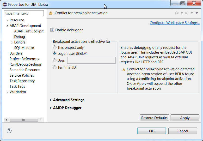 Breakpoint validity scope, breakpoint activation conflicts