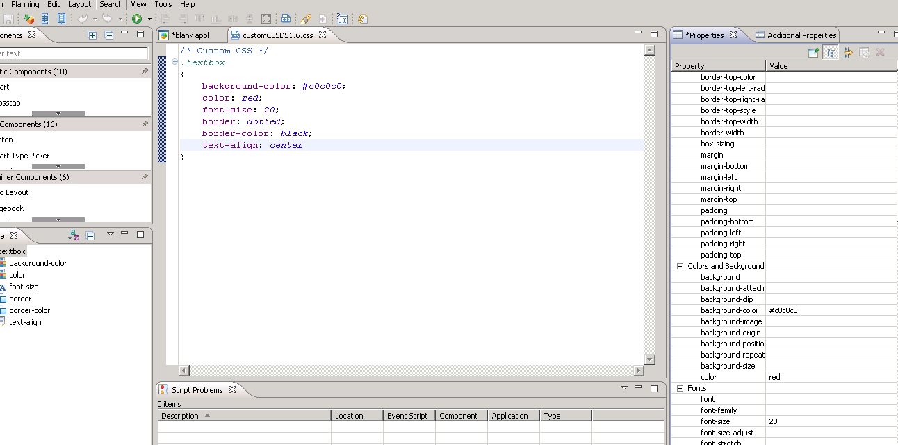 Edit Custom CSS window with CSS for textbox component in SAP BusinessObjects DesignStudio 1.6.png