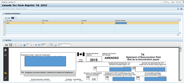 Configuring Canada Year End statement (T4 form) on ESS | SAP Blogs