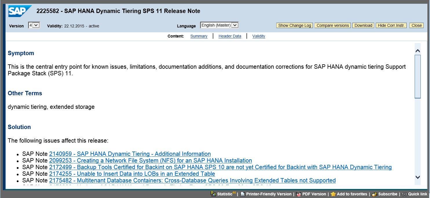 Finding Dynamic Tiering SAP Notes | SAP Blogs