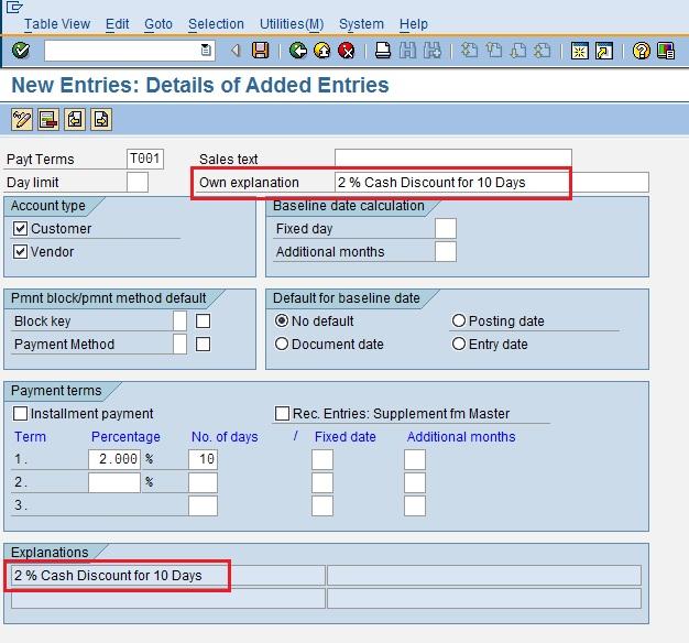 Configuring Terms Of Payment | SAP Blogs