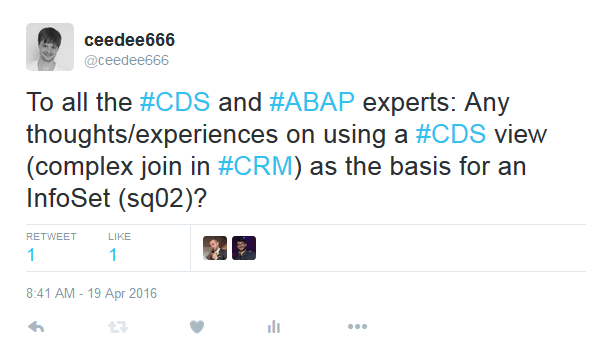 2016-04-27 21_36_00-ceedee666 on Twitter_ _To all the #CDS and #ABAP experts_ Any thoughts_experienc.png